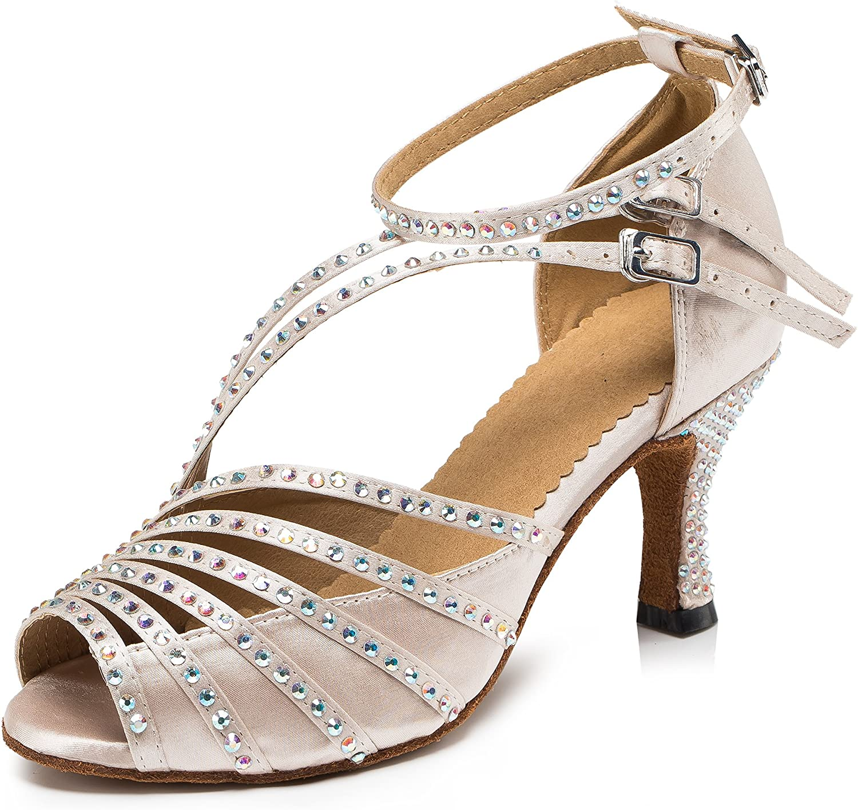 URVIP Women's PU Leather Heels Pumps Modern Rhinestone Latin Tango shoes Cross Ankle Strap Buckle Dance shoes LD092