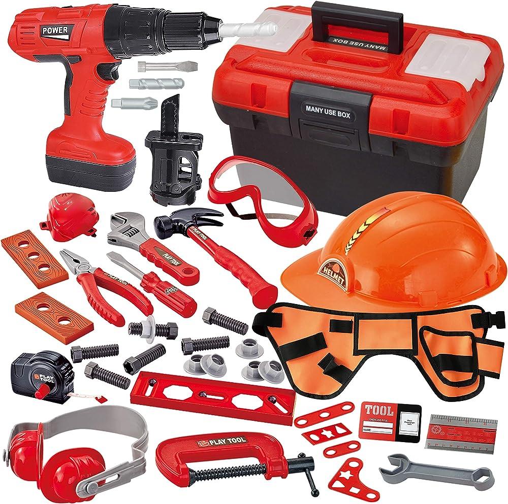 Joyin, set di 40 attrezzi da costruzione, casco e attrezzi da costruzione accessori in officina 10992