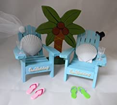 Wedding Reception Adirondack Chairs flip flops Beach Seashell Cake Topper