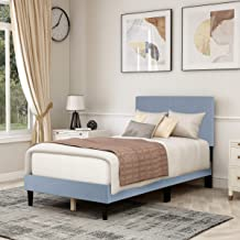 Twin Size Upholstered Panel Bed Frame with Headboard,Box Spring Needed/Mattress Foundation/Wood Slat Support,Light Grey
