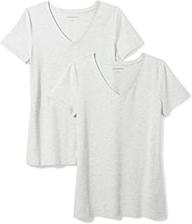 Amazon Essentials Women's 2-Pack Classic-Fit Short-Sleeve V-Neck