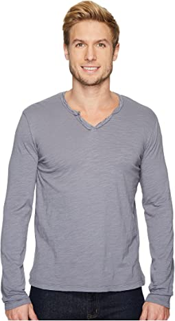Les Carillo Long Sleeve Notch Slub Jersey V-Neck