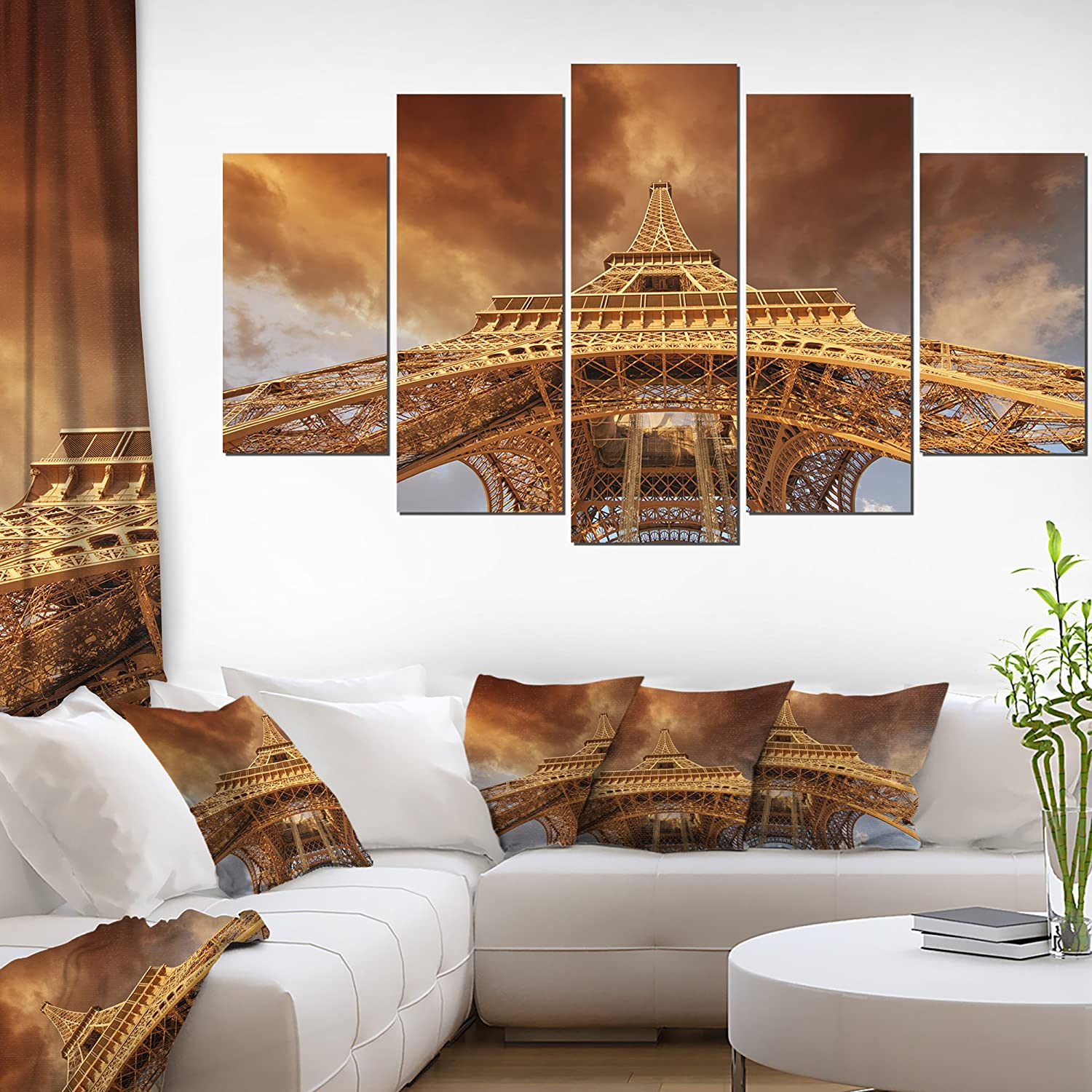 Designart Beautiful View Eiffel Tower in Paris-Cityscape Canvas print-60x32 5 Piece-PT10125-373, 60x32-5 Panels Diamond Shape