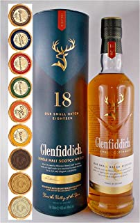 Flasche Glenfiddich 18 Jahre Single Malt Whisky  9 Edel Schokoladen in 9 Sorten