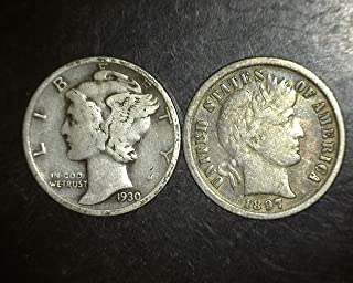 Set of 2 coins - Mercury and Barber Dimes - 90% Silver - Different Dates from 1892 to 1945 Dimes VG-08 and better