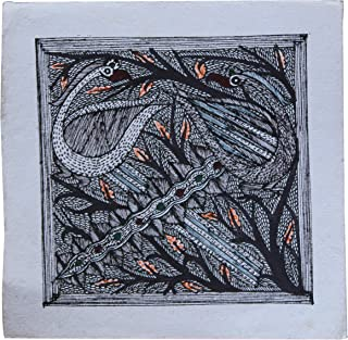 Framed Handpainted Peacock Madhubani Painting On Handmade Silk Cloth Depicting Stories India Folklore Made by Artist of Bihar with History Which Dates Back The Days of Ramayana