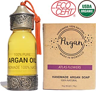 Pure Argan Oil 100% Pure Cold Pressed, USDA Certified Organic Handmade For Hair,Skin,face and Nails 60ml + 1 bar of argan oil soap 80g | Moroccan oil treatment and natural hair oil