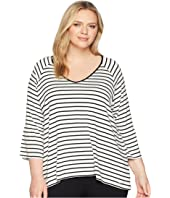 Plus Size Stripe V-Neck w/ Flare Sleeve