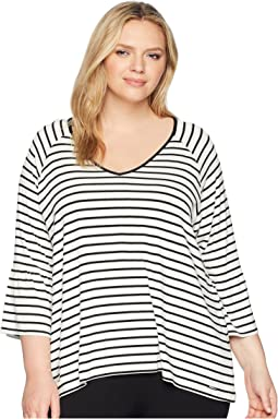 Plus Size Stripe V-Neck w/ Flare Sleeve