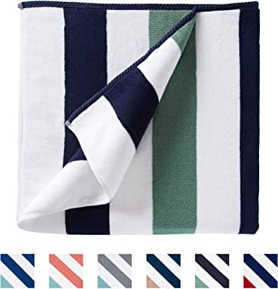 Oversize Plush Cabana Towel by Laguna Beach Textile Co | Navy and Seafoam Green| 1 Classic, Beach and Pool House Towel