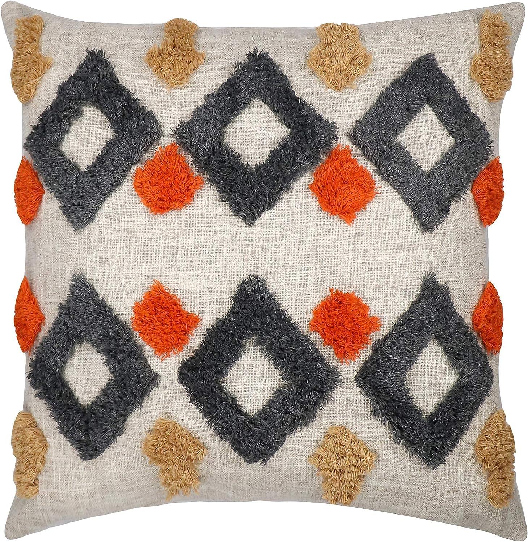 VANNCIO Boho Tribal half Throw Columbus Mall Pillow Tufted Decorative Linen Cover