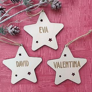 Adorno navidad estrella árbol bola de madera personalizadas con cordel para colgar, Ornamento Decoraciones colgantes de Na...
