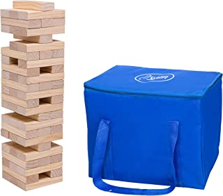 Giant Tumbling Stacking Game - 60pc Jumbo Set w Carrying Bag - Outdoor Wood Tower Builds Up to 5 Feet Tall- Fun for Kids and Adults