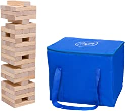 Giant Tumbling Stacking Game - 60pc Jumbo Set w Carrying Bag - Outdoor Wood Tower Builds Up to 5 Feet Tall- Fun Lawn Party...