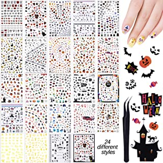 Above 2500 Pieces Halloween Nail Decals Stickers 3D Design Self Adhesive Nail Art Stickers Skull Pumpkin Bat Ghost Witch S...