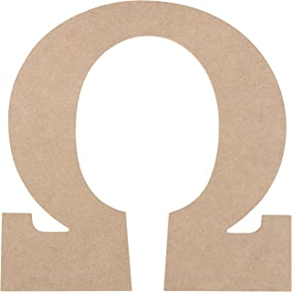 Wooden Greek Letter - Unfinished Wood Letter Omega, Paintable Greek Font for DIY, Home, College, Sorority, Fraternity Decoration, 11.5 x 11.625 x 0.25 inches