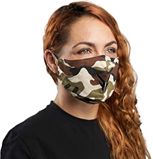 Victor Fitness VM25BB Brown Camo Cloth Reusable Face Mask with Included PM2.5 Filter - Uses an Adjustable Nose Guard and Ear Loops for a Snug Fit