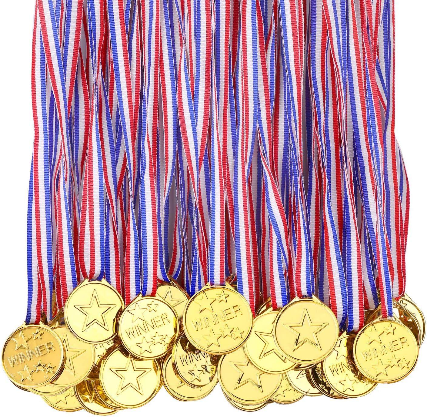100 Piezas Medallas De Plástico Para Niños, Premios De Oro, Medallas Para Niños, Premios Para Ganadores De Medallas De Plástico Para El Día De Deportes Escolares