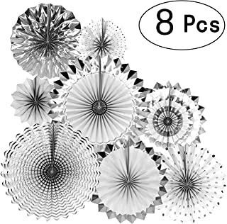 Silver Wedding Party Hanging Paper Fans Decorations Bachelorette Bridal Shower Party Ceiling Hangings Baby Shower Birthday Nursery Party Decorations, 8pc