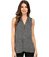 Vince Camuto - Sleeveless Check Memoir V-Neck Top