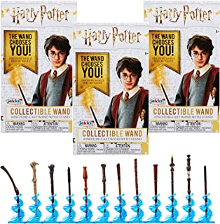 Harry Potter Collectible Wand 4 Inch Die Cast Wand with Stand Blind Boxes - Pack of 3