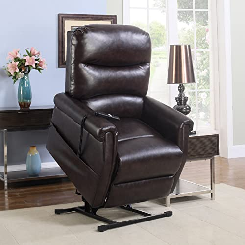 Madison Home Classic Plush Bonded Leather Power Lift Recliner Living Room Chair Brown