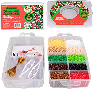 Christmas 10,000 pcs Special Holiday Fuse Bead Kit - Create Your Own Ornaments (Xmas Tree, Stocking, Gingerman Cookie, Ornament, Reindeer, Santa Claus, Snowman, Elf)