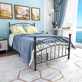 JURMERRY Lit en métal 120 x 200 cm noir sur cadre en acier avec sommier à lattes et tête de lit design pour adolescent