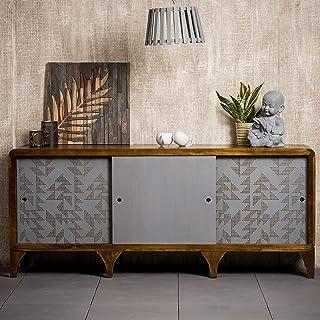 Native Home Aparador Salón Cómoda Moderna con Puertas Mueble Original Madera de Mango 75 x 177 x 45 cm Gris-Marrón