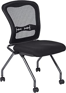 Office Star Deluxe Breathable ProGrid Back FreeFlex Coal Seat Armless Folding Chair with Casters, 2-Pack, Titanium Finish