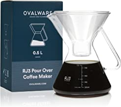 Pour Over Coffee Carafe Compatible with Chemex Square and Circle Filters, Hario V60 Size 02 Filters - Premium Carafe Maker with Precision Measuring Cup – 0.5L / 17oz