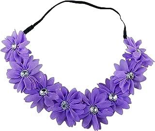 Art Attack Braided Chiffon Crystal Stone Floral Flower Crown Stretch Festival Headband (Purple)