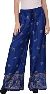 Women's Elephant Printed Dye Casual Wide Leg Flare Comfy Rayon Palazzo Lounge Pants Best for Festive