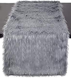Fennco Styles Holiday Christmas Decorative Exquisite Faux Fur with Silver  Lurex Thread Table Runner - 2 0a9a117c63e7f