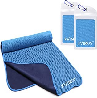 VIMOV Snap Cooling Towel 2 Pack with Pouch, Blue Ice Towel Neck Wrap for Sports, Workout, Gym, Yoga, Tennis, Travel, Running, Hiking