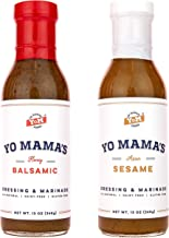 Gourmet Natural Salad Dressing and Marinade Combo Pack by Yo Mama's Foods - (1) 13 oz Bottle Bold Balsamic and (1) 13 oz Bottle Zesty Sesame - Low Sugar, Low Carb, Low Sodium, and Gluten-Free!