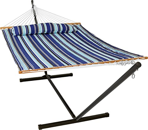 Sunnydaze Quilted Fabric Hammock Two Person with 12-Foot Stand and Spreader Bars, Freestanding Outdoor Heavy Duty 350 Pound Capacity, Catalina Beach