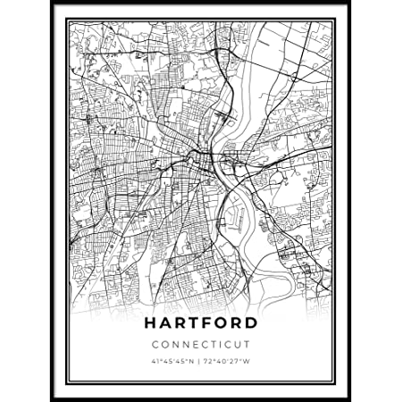 Canvas Art Framed Wall Art 1933 Hartford Map Wall Art City Map Wall Prints Hartford Map Print Poster Art Art History Prints Wall Art