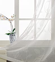 White Leaves Coating Print Curtains Imitate Embroidery Patterns Cute leaf Ivy Floral window panels for Living Room Transparent and Soft Gromment Top 54 inch Wide by 63 inch long 2 Panel