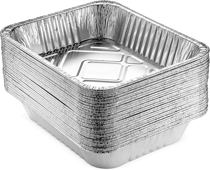 NYHI 9 X 13 Aluminum Foil Pans 30 Pack Durable Disposable Grill Drip Grease Tray Half Size Deep Steam Pan And Oven Buffet Trays Food Containers For Catering Baking Roasting Made In USA