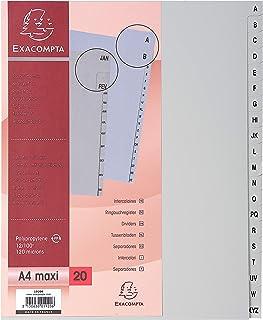 Exacompta - Réf. 1920E - Intercalaires gris en polypropylène recyclé avec 20 onglets imprimés alphabétiques de A à Z - For...