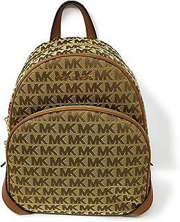 Michael Kors Abbey Medium Backpack in Signature Jacquard Beige/Ebony