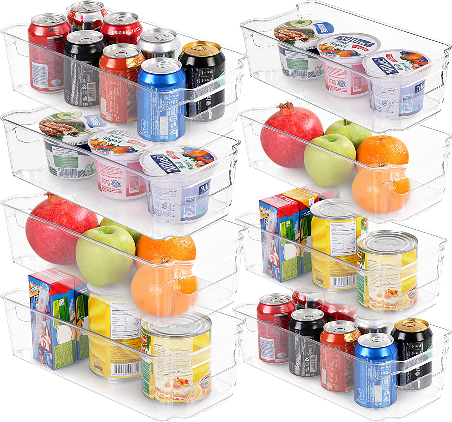 Utopia Home Set of 8 Pantry Organizers-Includes 8 Organizers (4 Large & 4 Small Drawers)-Organizers for Freezers, Kitchen Countertops and Cabinets-Clear Plastic Pantry Storage Racks