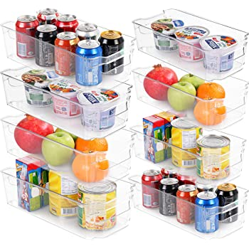 Set of 8 Pantry Organizers-Includes 8 Organizers (4 Large & 4 Small Drawers)-Organizers for Freezers, Kitchen Countertops and Cabinets-BPA Free Clear Plastic Pantry Storage Racks