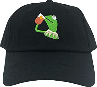 SYWHPS Kermit The Frog Dad Hat Cap Sipping Sips Drinking Tea Champion Lebron Costume (Black)