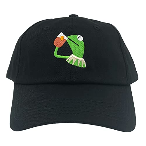 314055ed86bfbc SYWHPS Kermit The Frog Dad Hat Cap Sipping Sips Drinking Tea Champion Lebron  Costume (Black