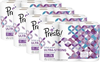 Amazon Brand - Presto! 176-Sheet Roll Toilet Paper, Ultra-Strong, 48 Count (For Small Roll Holders)