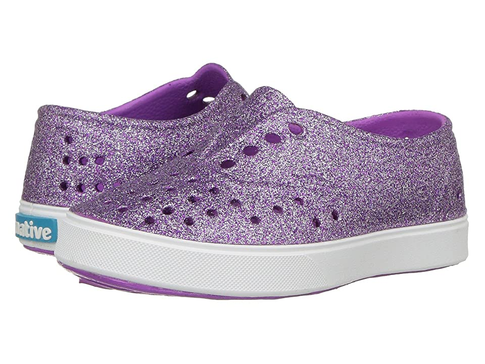 Native Kids Shoes Miller Bling (Toddler/Little Kid) (Peace Purple Bling/Shell White) Girl