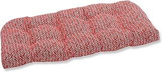 Pillow Perfect Outdoor   Indoor Herringbone Tomato Wicker Loveseat Cushion