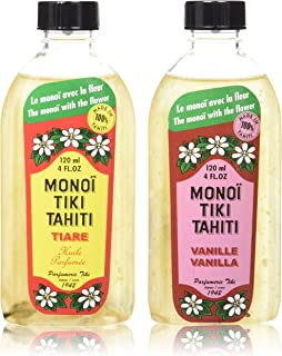 Monoi Tiare Tahiti Tiki Vanilla and Gardenia Scented Coconut Oil Bundle, 4 oz. each